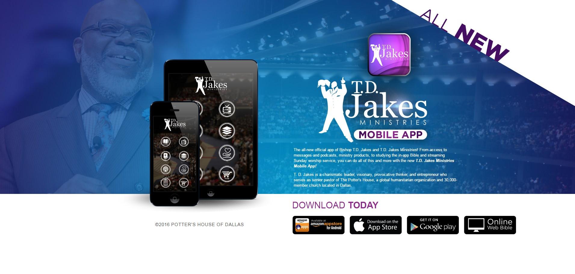 T D  Jakes Ministries MOBILE APP | Gospel Clipboard Marketing